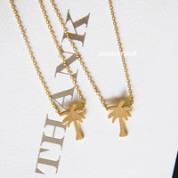 Tiny Cali Palm Tree Charm Necklace, Tiny Charm Necklace, GoldPlated Charm Necklace, GoldPlated Necklace, Hipster, Instagram, Holiday Gifts