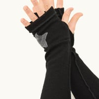 Arm Warmers in Basic Black Merino - Grey Star - Upcycled Wool Sweater - Fingerless Gloves