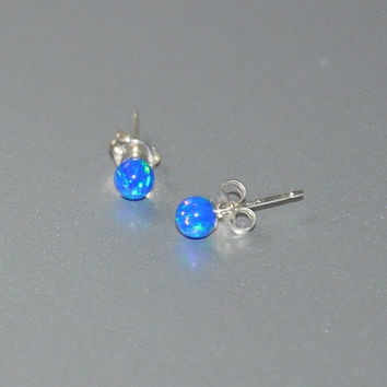 Pacific Blue Opal, 4mm Ball Stud Post earrings, Opal Earrings, Sterling Silver Earrings,  Australian Opal, 925 Sterling Silver