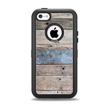 The Multicolored Tinted Wooden Planks Apple iPhone 5c Otterbox Defender Case Skin Set