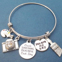 Create SOMETHING BEAUTIFUL Each Day, You are my bay, Camera, Brush, Palette, Silver, Bangle, Bracelet, Daphne, Bay, Gift, Jewelry