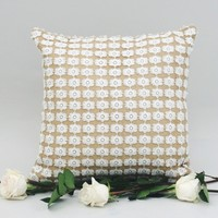 Natural Burlap Pillow with Lace Overlay 16 x 16 | The Daisy Duke Pillow