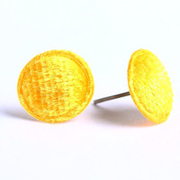 Yellow sun velvet round stud earrings READY to ship (318) - Free shipping