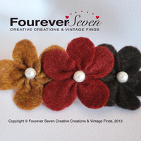 Felt Flowers Barrette w/ Pearl Beads, Maple Maroon Dk Brown, Fabric Flowers, Hair Clip, Bridesmaids, Flower Girl, Handmade Flowers