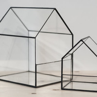 Glass Terrarium Houses set of 2, Home decor, Planter for indoor gardening