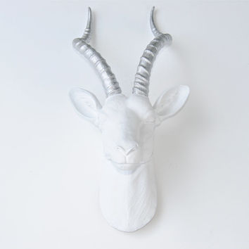 Large White and Silver Antelope Head Wall Mount - Faux Gazelle Wall Hanging - Faux Taxidermy White Antelope Head with Silver Horns ANT0110