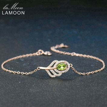 LAMOON Classic Leaf 100% Natural Oval Green Peridot Sterling Silver Jewelry Rose Gold Plated Chain Charm Bracelet S925 LMHI030