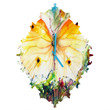 Ginette Fine Art Yellow Butterfly Baroque Clock