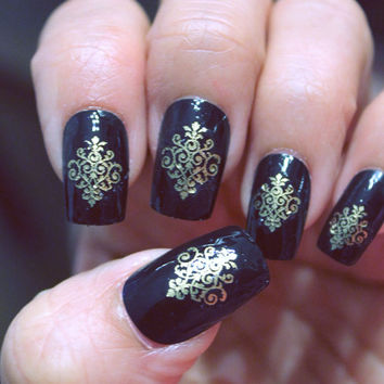 60 Metallic GOLD LACE DAMASK Nail Art Decals - Professional Results Waterslide - Not Stickers or Vinyl