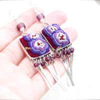 Violet embroidered charm garnet earring Purple mauve pansy Ethnic tribal floral Burgundy Gypsy Hippie Bohemian Vintage Unique Handmade Boho