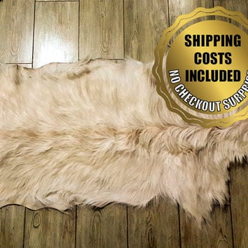 Genuine Ivory Goatskin Rug For Cosy Scandinavian Style Home Decoration // 100%Naturel Very Long Hair Pelt Goat Hide Throw Carpet