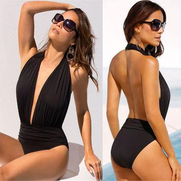 Sexy V Neck Backless Bikini Swimsuit