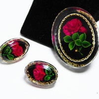 Red Roses Brooch & Earrings Set, Oval Cameo Style,  Simulated Goofus Glass, Vintage 1950s 1960s Flower Pin, Post Earrings, Old Rose Brooch