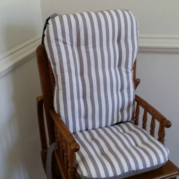 Modern Gray Stripe High Chair Cushions, High Chair Pads, High Chair Cover, Highchair Pads, Wooden Highchair Pads