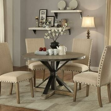 5 pc Tobin collection driftwood grey wood round dining table set with trestle base