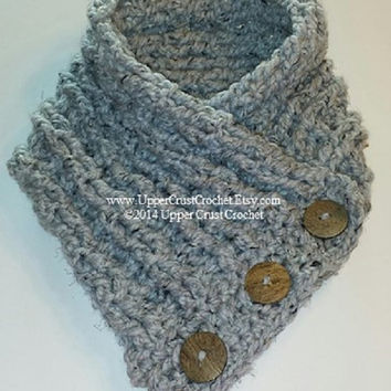 Super Soft n Chunky Crochet Side Button Cowl PATTERN