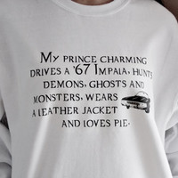 Supernatural Fandom Prince Charming Shirt. Fandom Shirt. Supernatural Shirt. Unisex Adult Crew Neck Sweatshirt.