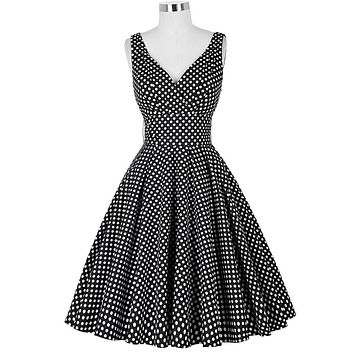 Belle Poque 2017 Plus Size Women Summer Dresses 50s 60s Style Vintage Retro Polka Dot Pin Up Wide Swing Robe Rockabilly Dress
