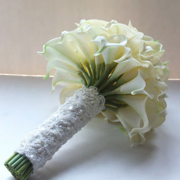 Ivory Calla Lily bouquet, Bridal Bouquet, wedding bouquet