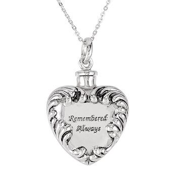 Sterling Silver Remembered Always Heart Ash Holder Necklace, 18 Inch