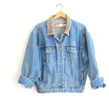 Vintage denim Z Cavaricci jean jacket. suede collar jacket / size XL