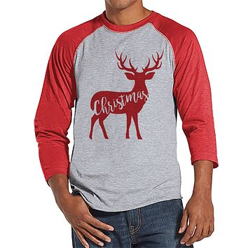 Reindeer Holiday Shirt - Men's Christmas Shirt - Men's Baseball Tee - Red Raglan Shirt - Family Shirts - Family Holiday Shirt - Winter Shirt