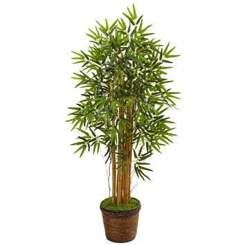 Artificial Silk Tree -4.5 Ft Bamboo Tree In Coiled Rope Planter