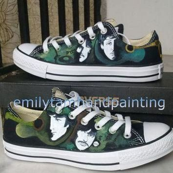 ICIKGQ8 the beatles converse sneakers low top sneaker custom converse beatles inspired paint