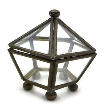 Clear Glass Box Display Case - Geometric Glass Jewelry Box