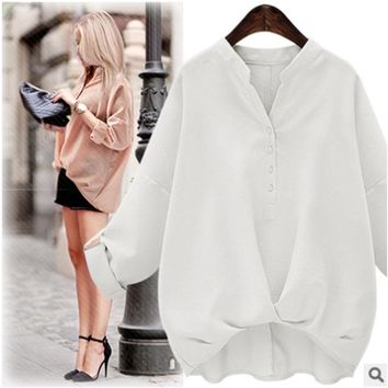 Women's 2016 summer new loose solid color long-sleeved collar [22460104730]