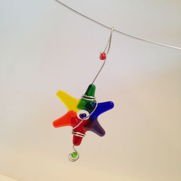 Rainbow Christmas Star Ornament / Small Giftable / Suncatcher / Gift Wrap Decoration / Teacher Gift / Sun Catcher / Dorm Decor / LGBT Gift