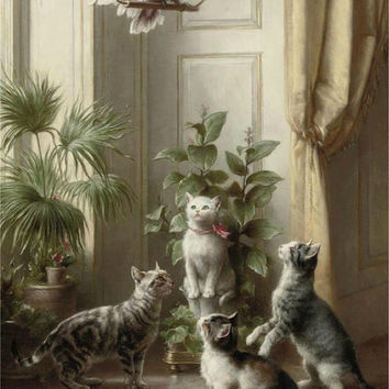 Cats and the Cockatiel by Carl Reichert - Downloadable PDF Cross Stitch  INSTANT DOWNLOAD