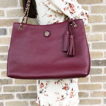 Tory Burch Whipstitch Logo Large Chain Tote Imperial Garnet Burgundy