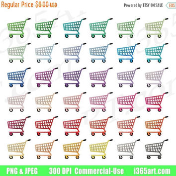 50% OFF Sale Shopping Cart Clipart, Shopping Cart Clip Art, Grocery Carts, Cart Icons, Trolley, Printable, Planner Sticker Graphics, PNG