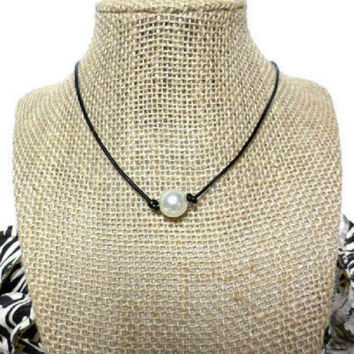 White Pearl Black Genuine Leather Cord Pearl Knot Choker Necklace Slip Knot