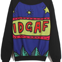ROMWE | Stars IDGAF Print Black Sweatshirt, The Latest Street Fashion