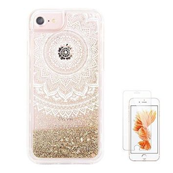 "iPhone 6S Case,iPhone 6 Case, iPhone 7 Case uCOLOR Gold Glitter Dmask Floral Waterfall Clear Protective Case for iPhone 7/6S/6(4.7"") with Slim Tempered Glass Screen Protector"