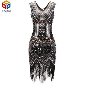 1920s Great Gatsby Dress Sequin Beading V Neck Tassel Flapper Dress Black Party Long Summer Dress Vestido Longo De Festa