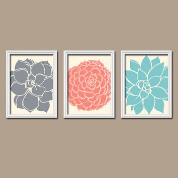 Grey Coral Aqua Flower Burst Dahlia Bloom Petals Artwork Set of 3 Trio Prints Wall Decor Abstract Art Picture Bathroom Bedroom