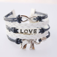 5 Strand Blue and White Infinity Love Elephant Faux Leather Braid Cord Bracelet (Adjustable Sizing)