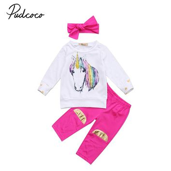 2017 Newborn Baby Unicorn Clothes Long Sleeve Gold Heart Pullover Tops +Rose Red Pant Legging Headband 3PCS Outfit Kids Clothing