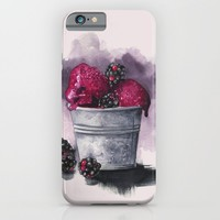 Blackberry Ice Cream,Watercolor illustration  iPhone & iPod Case by Koma Art