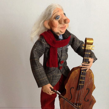 Interior doll-Paper clay- cellist-Collecting doll-OOAK Doll-OOAK other-Clay doll-Decorative doll-Art doll-Human figure doll-OOAK-musician