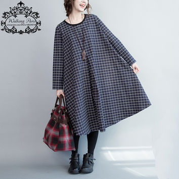 Women Dress Autumn Plaid Print Fashion Female Long Sleeve New Checker Lady Blue Vestido Clothing Big Size Dresses With Pockets