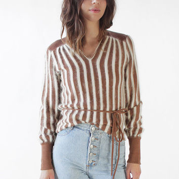 Vintage 70s Brown and White Striped Angora Knit Sweater | M