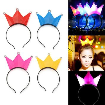 LED Blinking Diadem Crown Hairline Children Princess Birthday Christmas Decoration