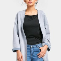 Faux Suede Open Front Coat