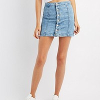 Button-Up Denim Mini Skirt