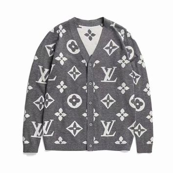 LV Women Men Button Monogram Cardigan Coat Knot Shirt High Quality Grey