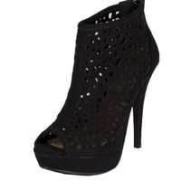 Edel! By Delicious Cut Out Platform High Heel Peep Toe Ankle Bootie with Back Zipper in Black Faux Suede